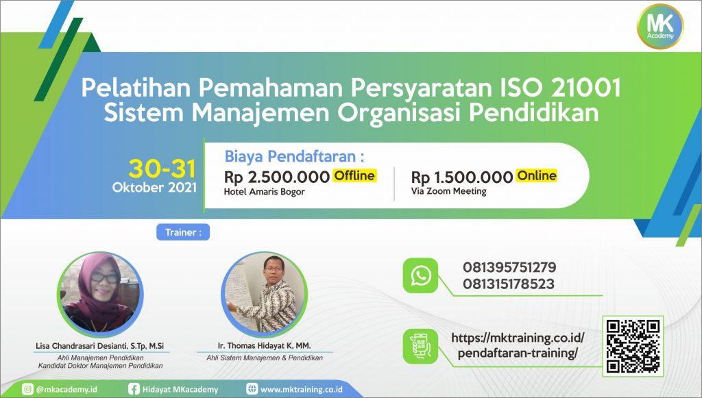 Pelatihan ISO 21001 Manajemen Organisasi Pendidikan