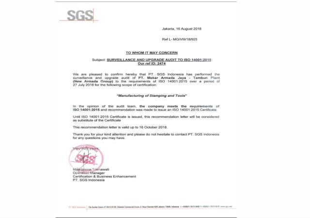 Pengalaman Training & Konsultasi Multi Kompetensi PT Armada Sertifikaasi ISO 14001